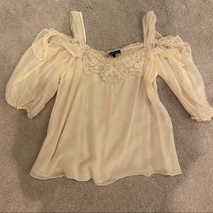 Nanette Lepore soft yellow off the shoulder top